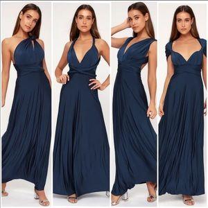 LULU'S TRICKS OF THE TRADE NAVY BLUE MAXI DRESS S